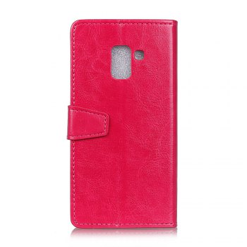 Wkae Crystal Grain Texure Faux Leather Wallet Case for Samsung Galaxy A5 2018 - ROSE RED
