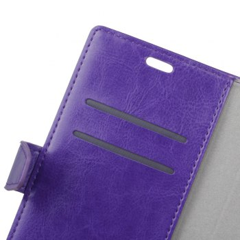 Wkae Crystal Grain Texure Faux Leather Wallet Case for Samsung Galaxy A5 2018 - PURPLE