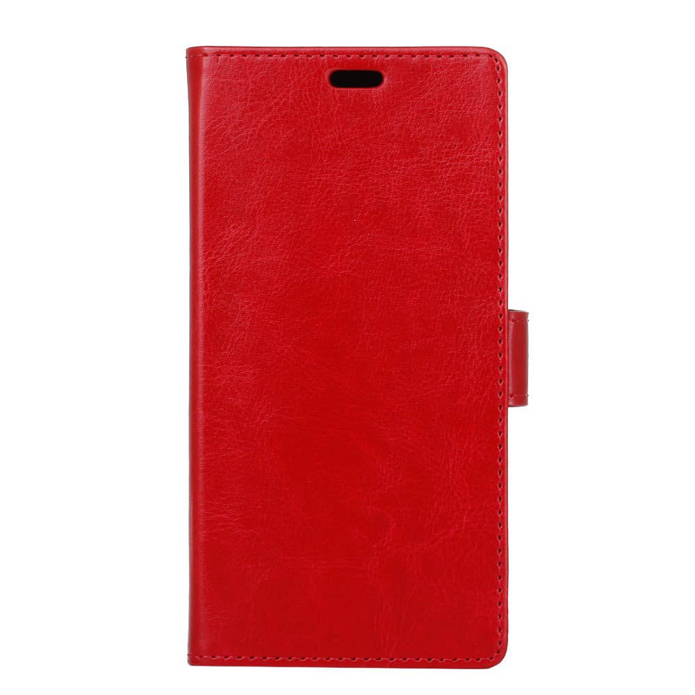 Wkae Crystal Grain Texure Faux Leather Wallet Case for Samsung Galaxy A5 2018 - BRIGHT RED