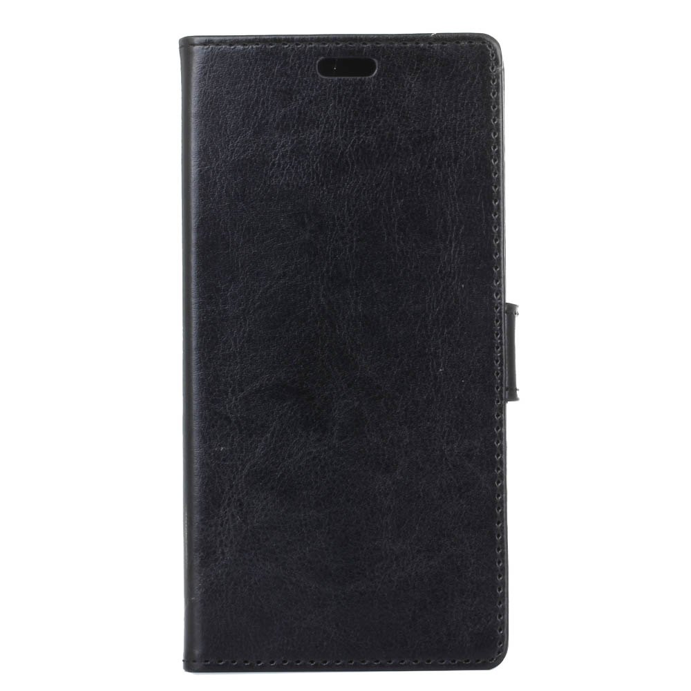 Wkae Crystal Grain Texure Faux Leather Wallet Case for Samsung Galaxy A5 2018 - BLACK