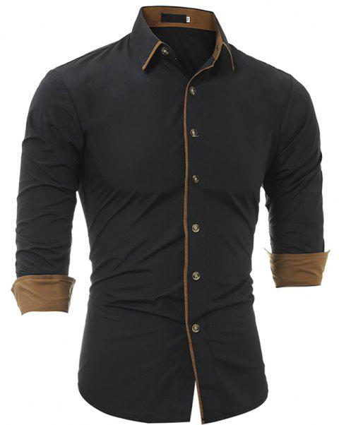Autumn and Winter New Classic Color Personalized Striped Men'S Casual Slim Long-Sleeved Shirt - BLACK 3XL