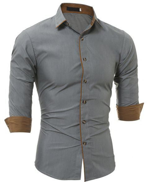 Autumn and Winter New Classic Color Personalized Striped Men'S Casual Slim Long-Sleeved Shirt - GRAY 2XL
