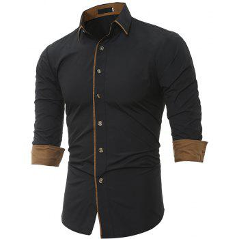 Autumn and Winter New Classic Color Personalized Striped Men'S Casual Slim Long-Sleeved Shirt - BLACK 2XL