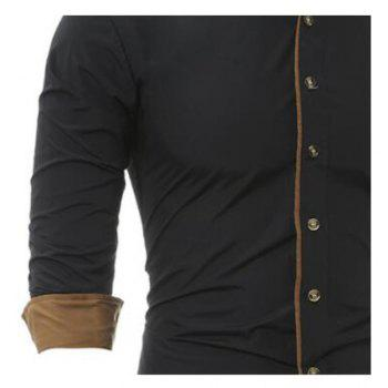 Autumn and Winter New Classic Color Personalized Striped Men'S Casual Slim Long-Sleeved Shirt - BLACK L