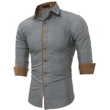 Autumn and Winter New Classic Color Personalized Striped Men'S Casual Slim Long-Sleeved Shirt - GRAY M