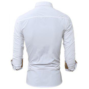 Autumn and Winter New Classic Color Personalized Striped Men'S Casual Slim Long-Sleeved Shirt - WHITE 2XL