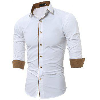 Autumn and Winter New Classic Color Personalized Striped Men'S Casual Slim Long-Sleeved Shirt - WHITE M