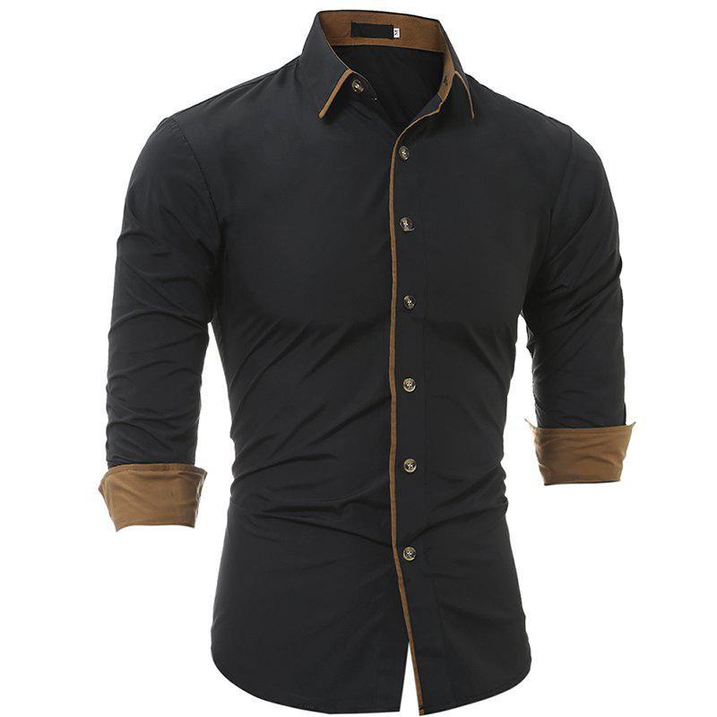 Autumn and Winter New Classic Color Personalized Striped Men'S Casual Slim Long-Sleeved Shirt - BLACK M