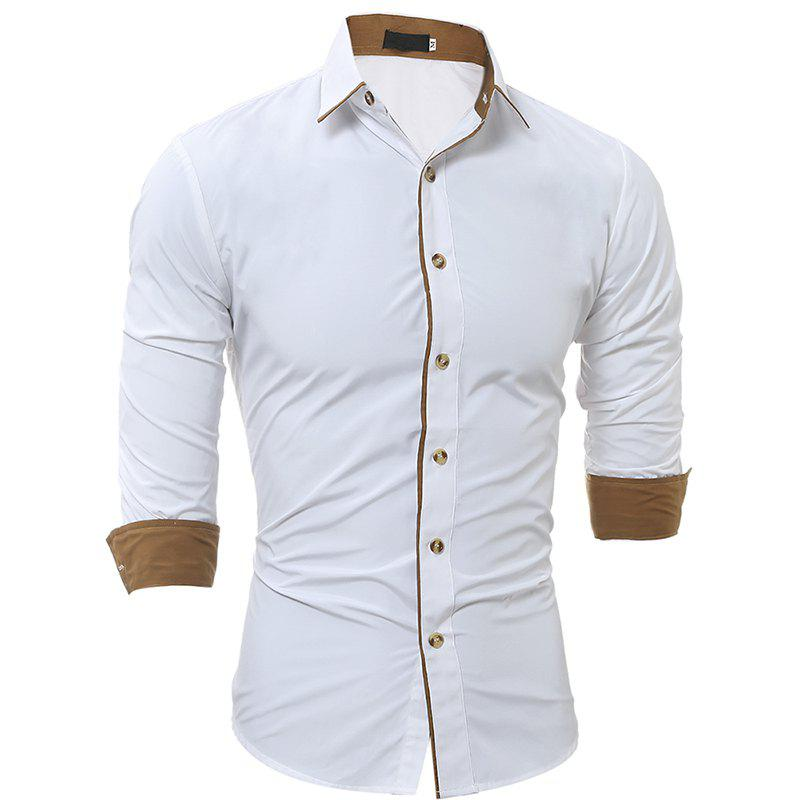 Autumn and Winter New Classic Color Personalized Striped Men'S Casual Slim Long-Sleeved Shirt - WHITE XL