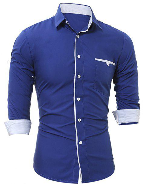 Patch Pocket Trim Men'S Casual Slim Long-Sleeved Shirt - ROYAL 2XL