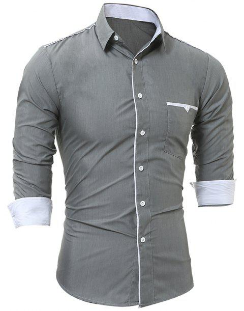 Patch Pocket Trim Men'S Casual Slim Long-Sleeved Shirt - GRAY M