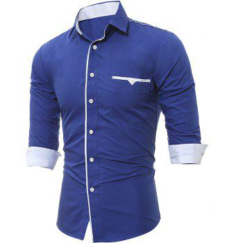 Patch Pocket Trim Men'S Casual Slim Long-Sleeved Shirt - ROYAL L