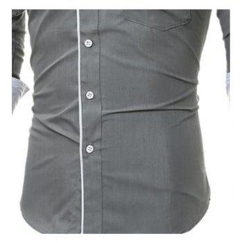 Patch Pocket Trim Men  's Chemise à manches longues Slim Casual - gris XL