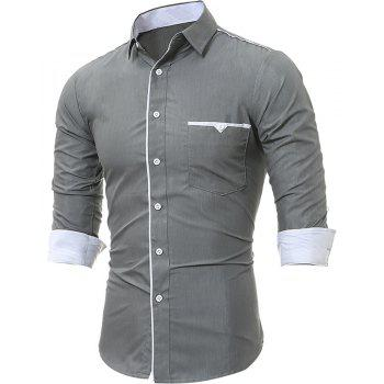 Patch Pocket Trim Men'S Casual Slim Long-Sleeved Shirt - GRAY L