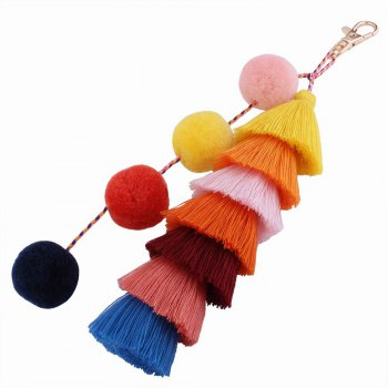 Color Tassel Hairball Bags Hang Key Chain - RED RED