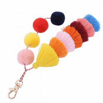 Color Tassel Hairball Bags Hang Key Chain - RED