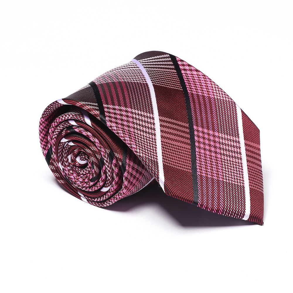 Fashion Business Necktie Men's Tie Classic Comfy Striped Plaid Casual Formal Ties Accessory - WINE RED