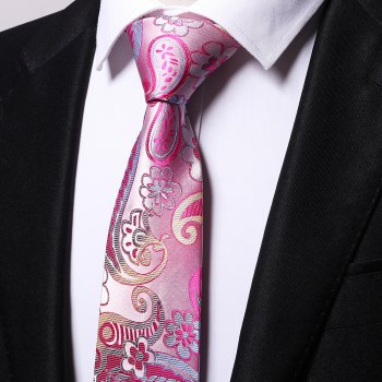 Fashion Men's Business Necktie Flower Cashews Pattern Floral All Match Tie Accessory - PINK