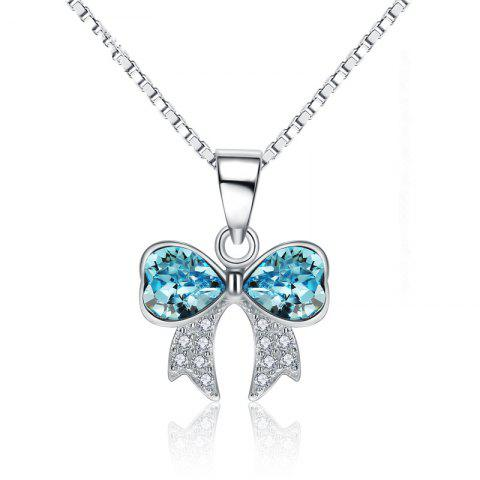 JAMOUR S925 Silver Crystal Bowknot Ladies Personalized Hypoallergenic Pendant Necklace - BLUE 1.3X0.4X2.0CM