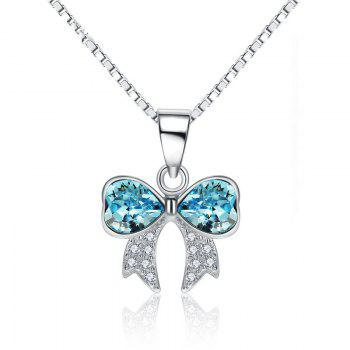 JAMOUR S925 Silver Crystal Bowknot Ladies Personalized Hypoallergenic Pendant Necklace - BLUE BLUE