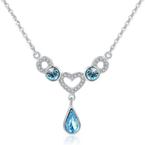 JAMOUR S925 Silver Inlay Love Drops Blue Crystal Ladies Fashion Classic Wild Hypoallergenic Pendant Necklace - BLUE 2.75X2.7X0.4