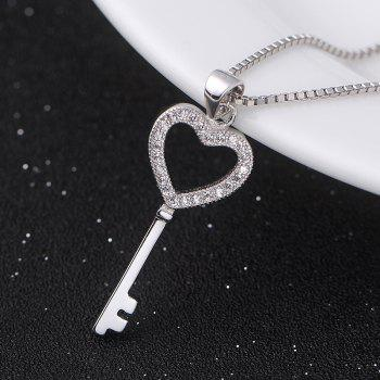 JAMOUR S925 Silver-studded Zircon Key Personalized Wild Lady Hypoallergenic Pendant Necklace - WHITE / GOLD 1.1X3.2X0.2CM