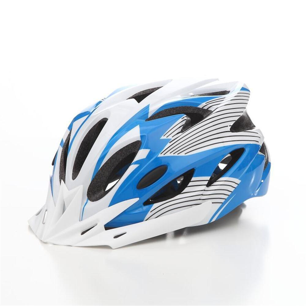 T-A016X Bicycle Helmet Bike Cycling Adult Adjustable Unisex Safety Equipment with Visor - BLUE/WHITE