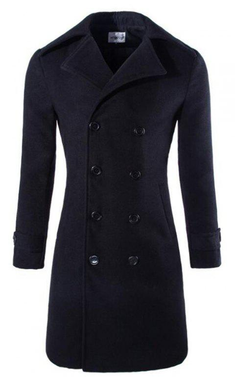 Hommes Manteau Trench-Coat Brun Trench Turndown Manches Longues Double Manteau Breasted - Noir L