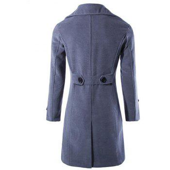 Hommes Manteau Trench-Coat Brun Trench Turndown Manches Longues Double Manteau Breasted - GRIS FONCE L
