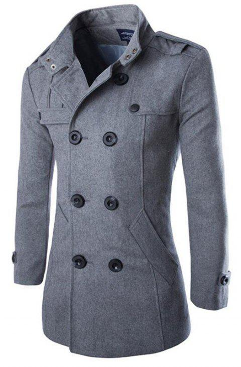Men's Double Breasted Long Sleeve Turndown Collar Cotton Coat - GRAY M