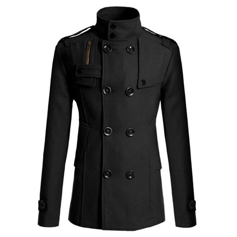 Men's Pea Coat Double Breasted Wool Blend, BLACK, XL in Jackets ...