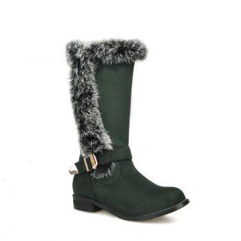 Round Head with Low-Heeled Fashion Suede Boots - GREEN GREEN