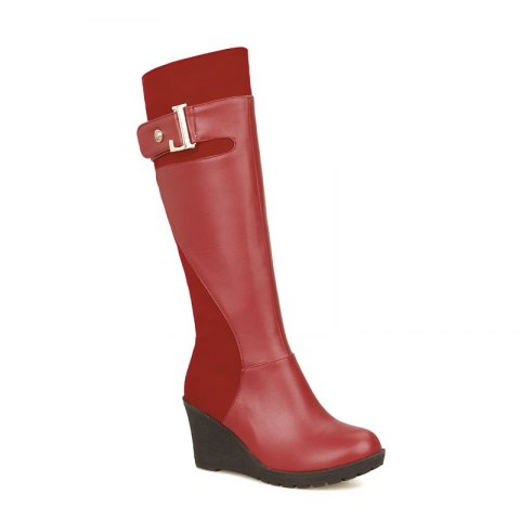 Round Head with Stylish Suede Stitching High Boots - RED 30
