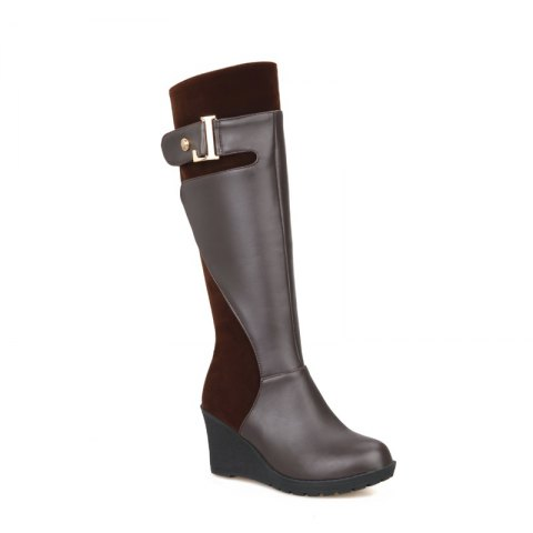 Round Head with Stylish Suede Stitching High Boots - BROWN 45