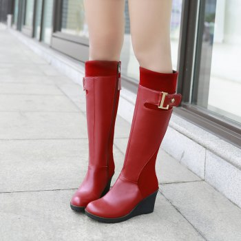 Round Head with Stylish Suede Stitching High Boots - RED RED