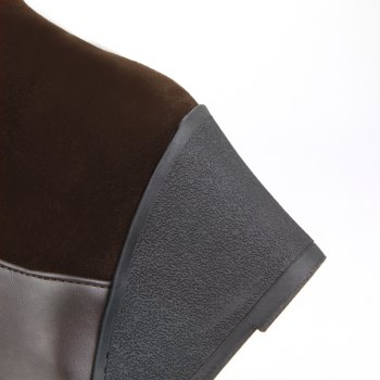 Round Head with Stylish Suede Stitching High Boots - BROWN BROWN