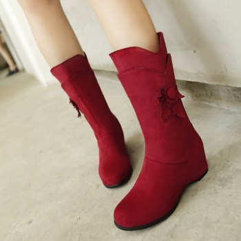 Round Head Increased Elastic Frosted Boots - RED RED