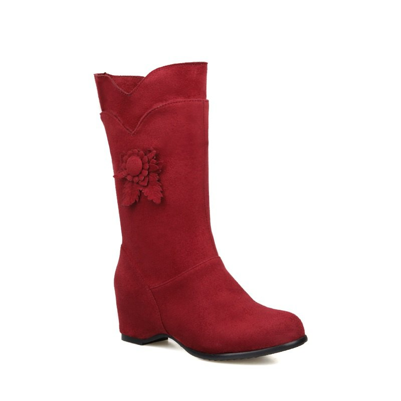 Round Head Increased Elastic Frosted Boots - RED 42