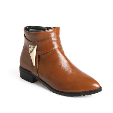 Pointed Rough Low with Simple Fashion Bare Boots - YELLOW 30