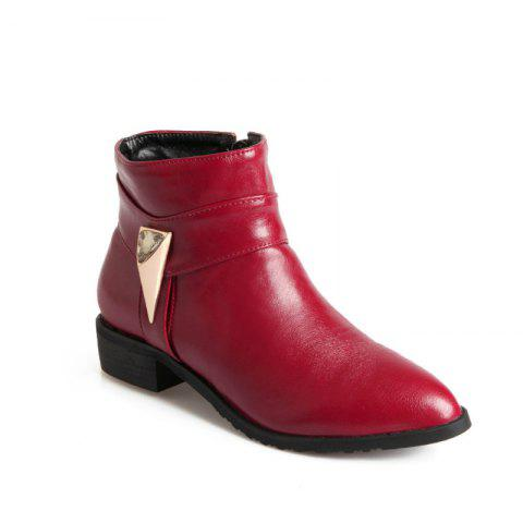 Pointed Rough Low with Simple Fashion Bare Boots - RED 45