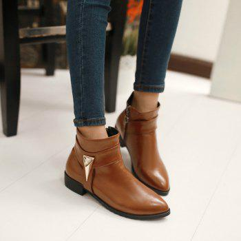Pointed Rough Low with Simple Fashion Bare Boots - YELLOW YELLOW