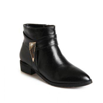 Pointed Rough Low with Simple Fashion Bare Boots - BLACK BLACK
