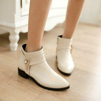 Pointed Rough Low with Simple Fashion Bare Boots - BEIGE BEIGE