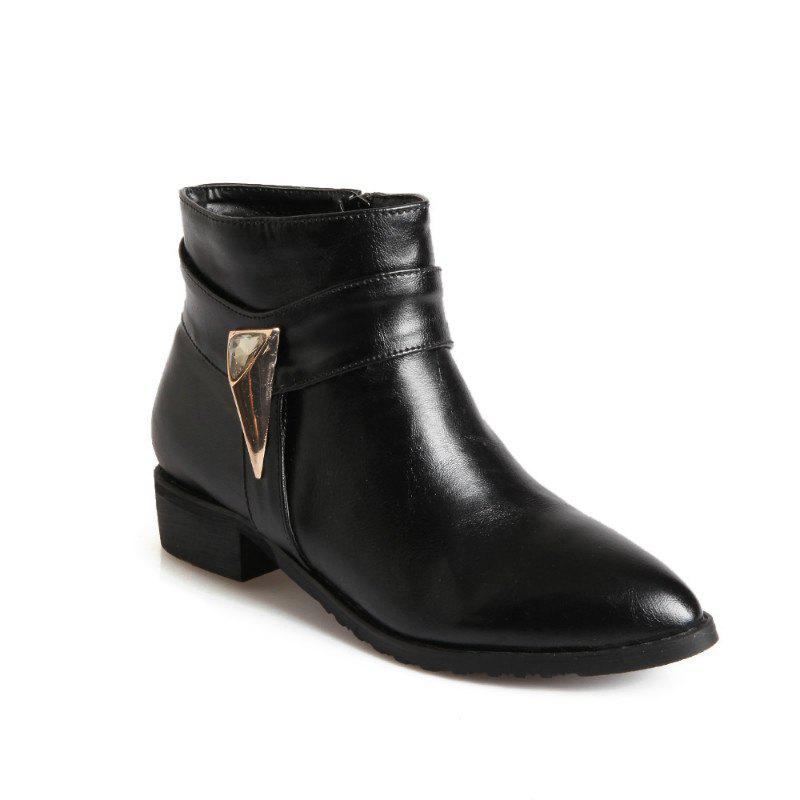 Pointed Rough Low with Simple Fashion Bare Boots - BLACK 30