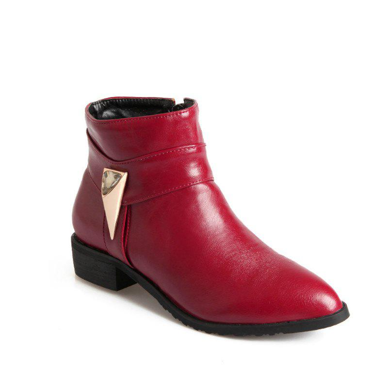 Pointed Rough Low with Simple Fashion Bare Boots - RED 43