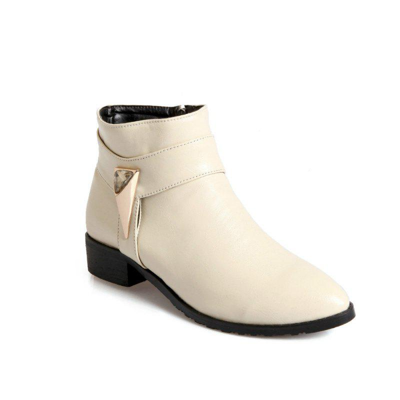 Pointed Rough Low with Simple Fashion Bare Boots - BEIGE 39