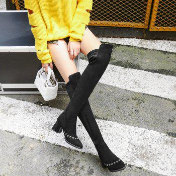 Pointed  Rough  Sexy Nail Over Knee Boots - BLACK BLACK