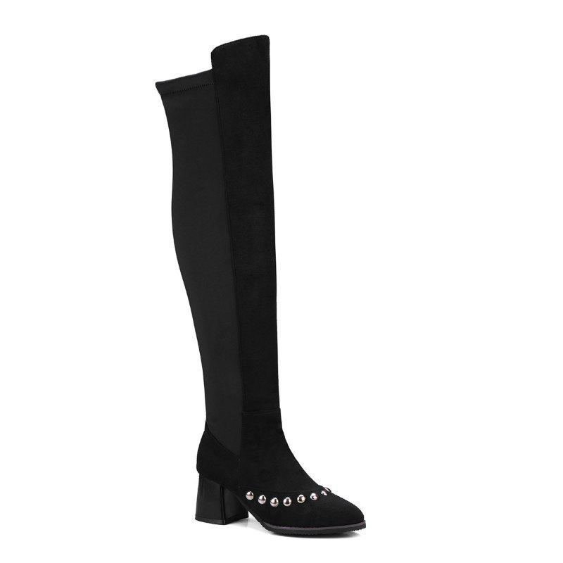 Pointed  Rough  Sexy Nail Over Knee Boots - BLACK 32