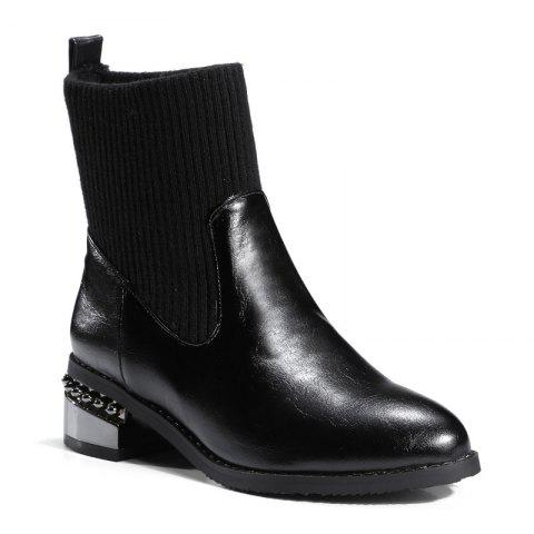 Round Head with Thick with All-Match Bare Boots - BLACK 45