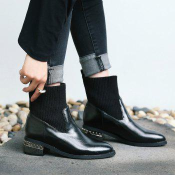 Round Head with Thick with All-Match Bare Boots - BLACK BLACK